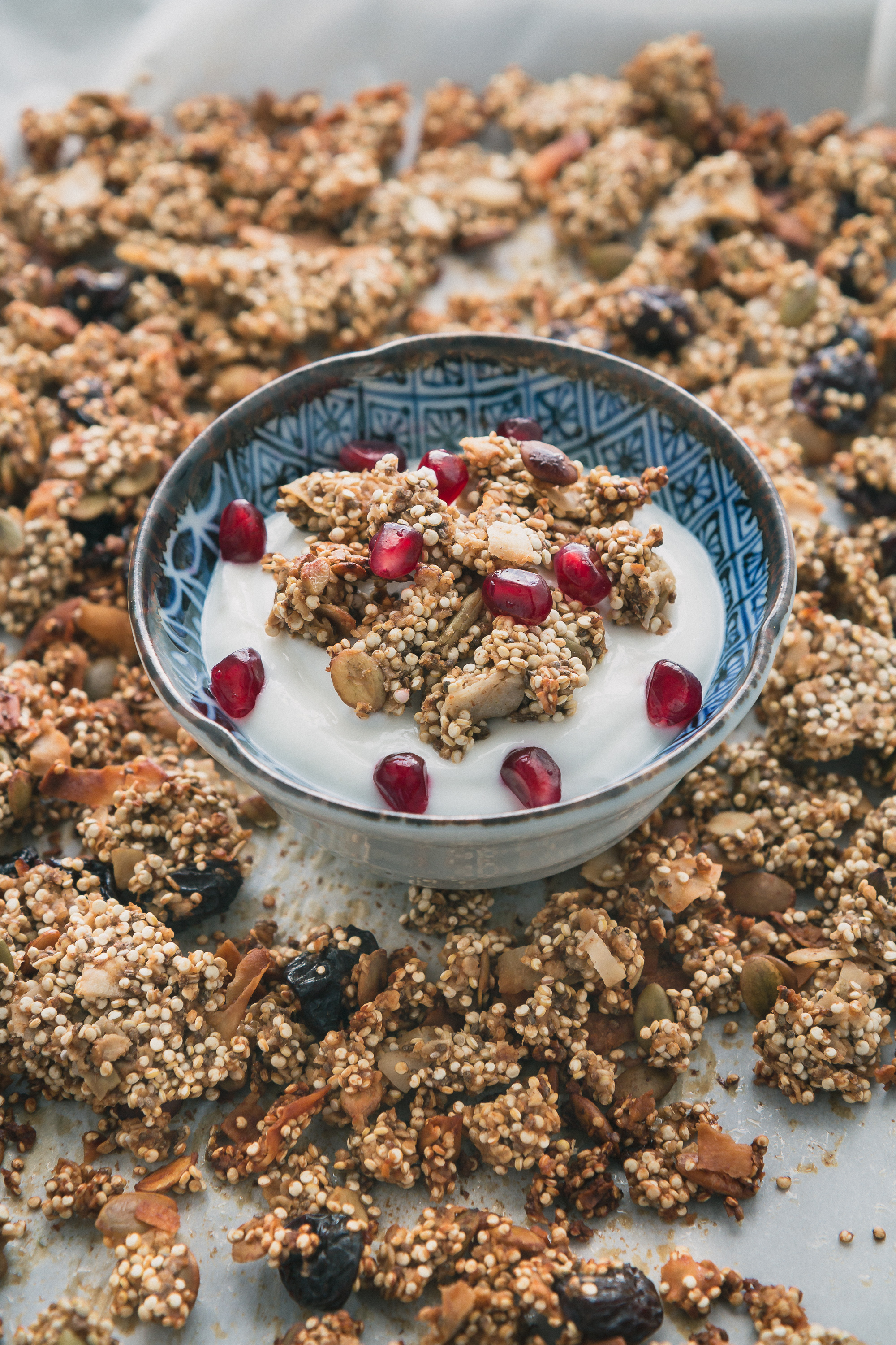Crunchy Quinoa Granola - Granola gets a healthier makeover with quinoa & other wholesome clean ingredients such as pumpkin seeds, cherries, chia seeds & coconut.