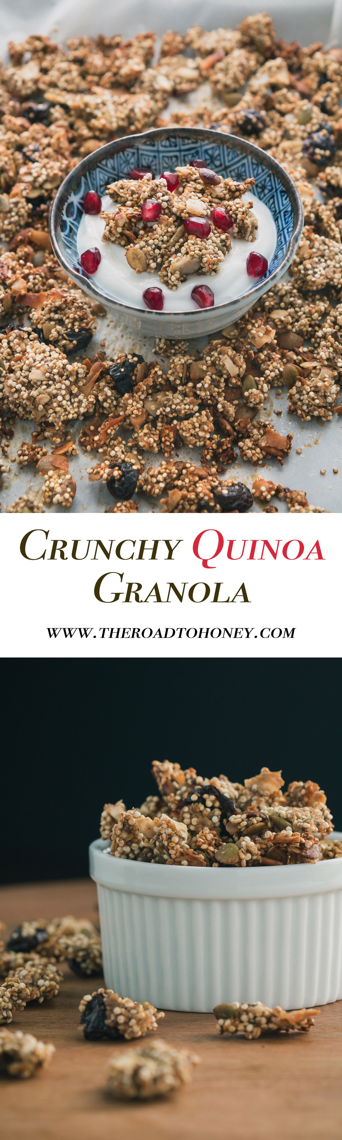 Crunchy Quinoa Granola - Granola gets a healthier makeover with quinoa & other wholesome clean ingredients such as pumpkin seeds, cherries, chia seeds & coconut. Click for RECIPE.