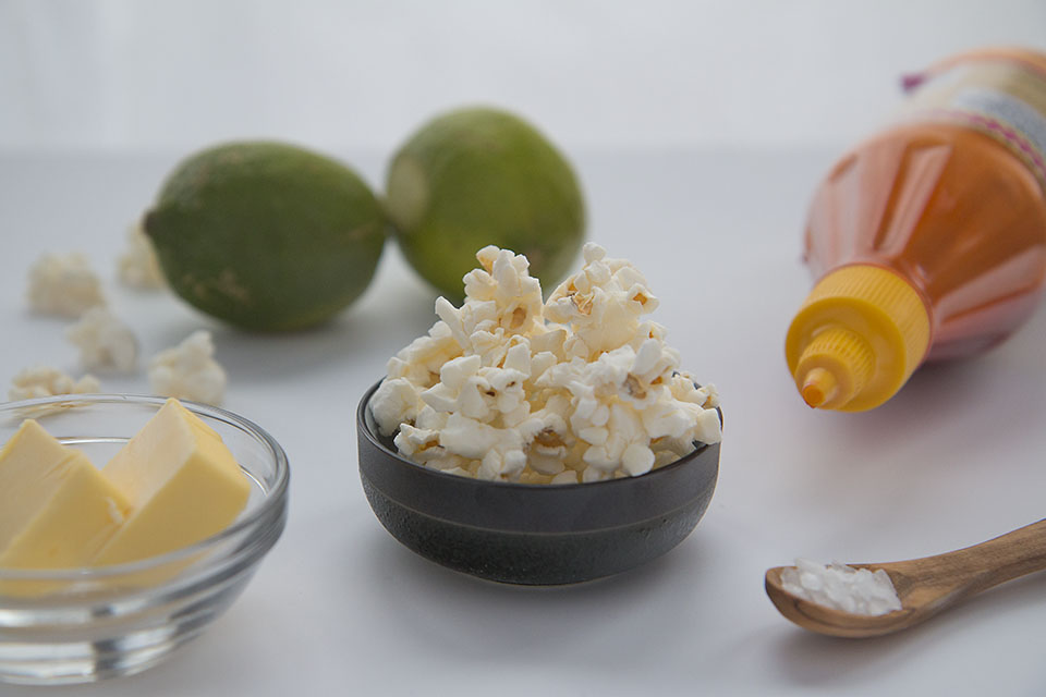 Sriracha and lime popcorn ingredients