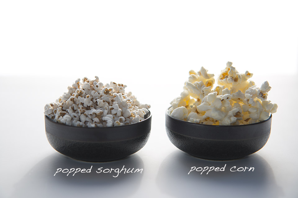 Popped sorghum and popped corn