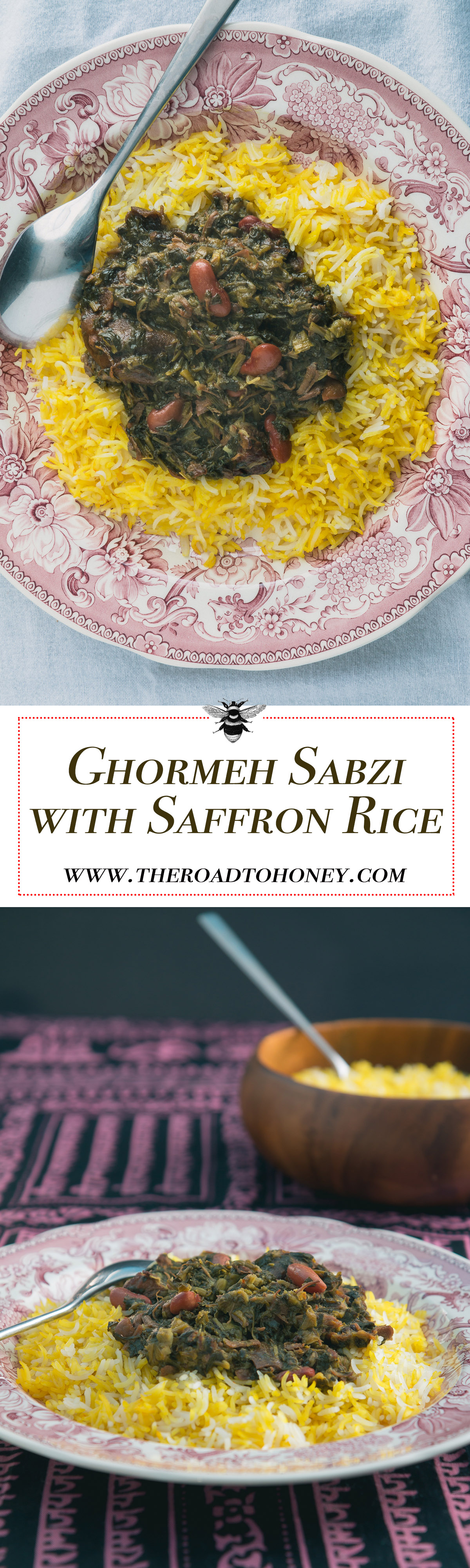 Ghormeh sabzi with saffron rice & tahdig (crispy rice) is an Middle Eastern herb stew popular in Iran. It's made with parsley, fenugreek, dried limes, kidney beans and lamb and served over basmati rice.