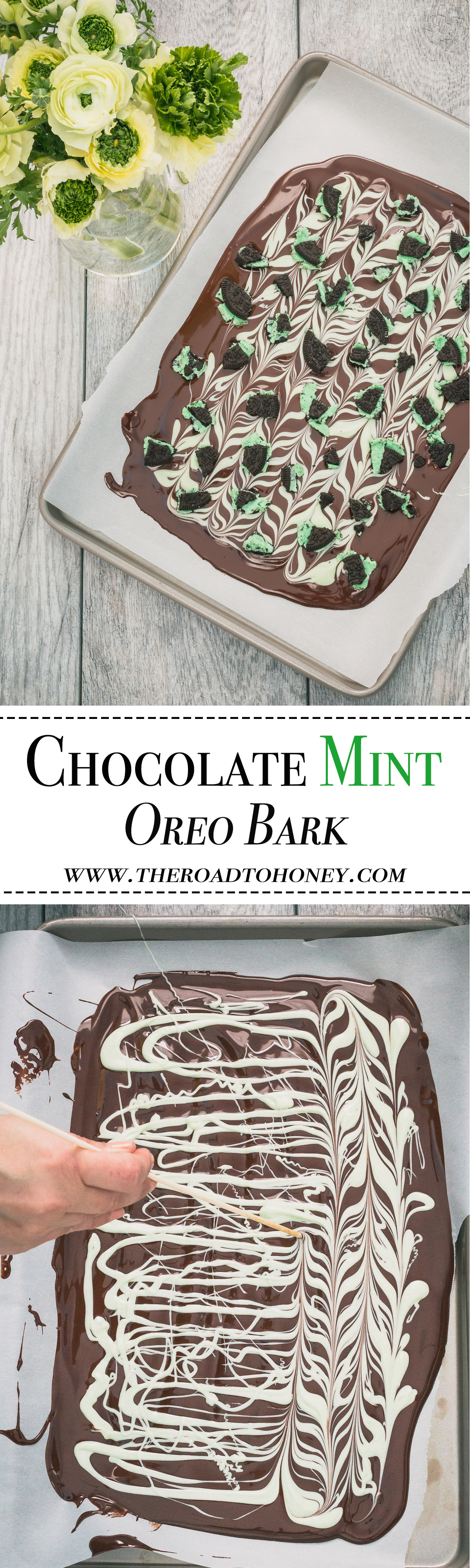 Chocolate Mint Oreo Bark - White Chocolate is swirled into a milk chocolate & then sprinkled with pieces of Chocolate Mint Oreos for an easy, yet fun chocolate treat. Perfect for Saint Patricks Day or any other day that you want to add a little more fun to your chocolate experience.  Click for RECIPE.