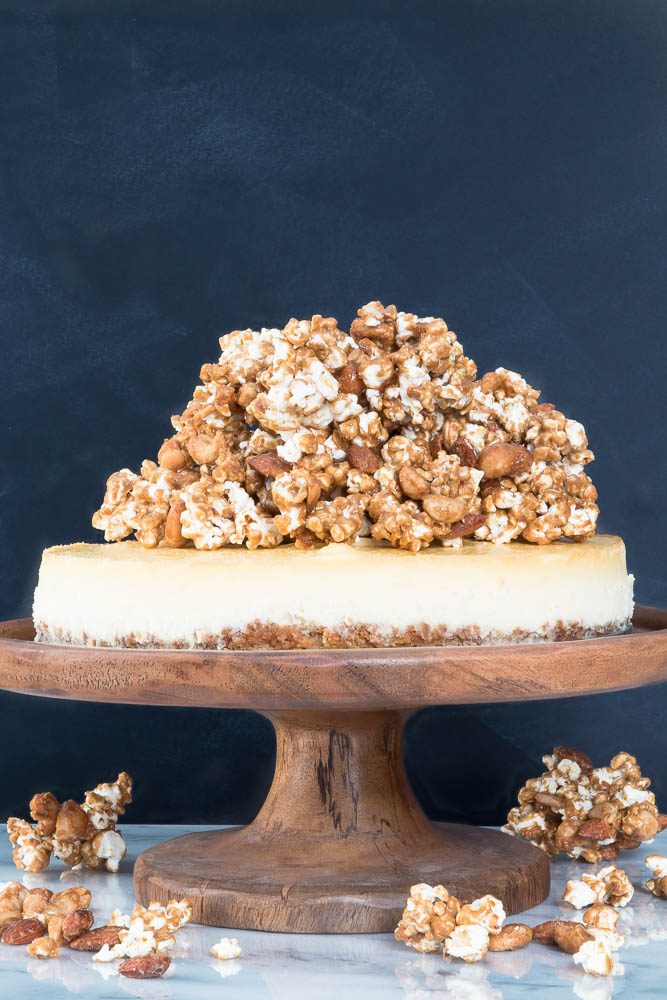 Cheesecake with Nut Crust and Nutty Caramel Popcorn Recipe