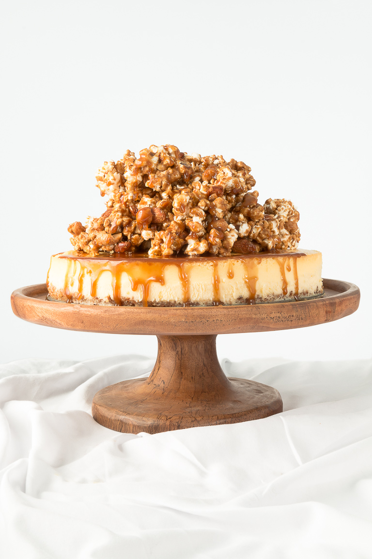 Cheesecake with Nut Crust and Nutty Caramel Popcorn