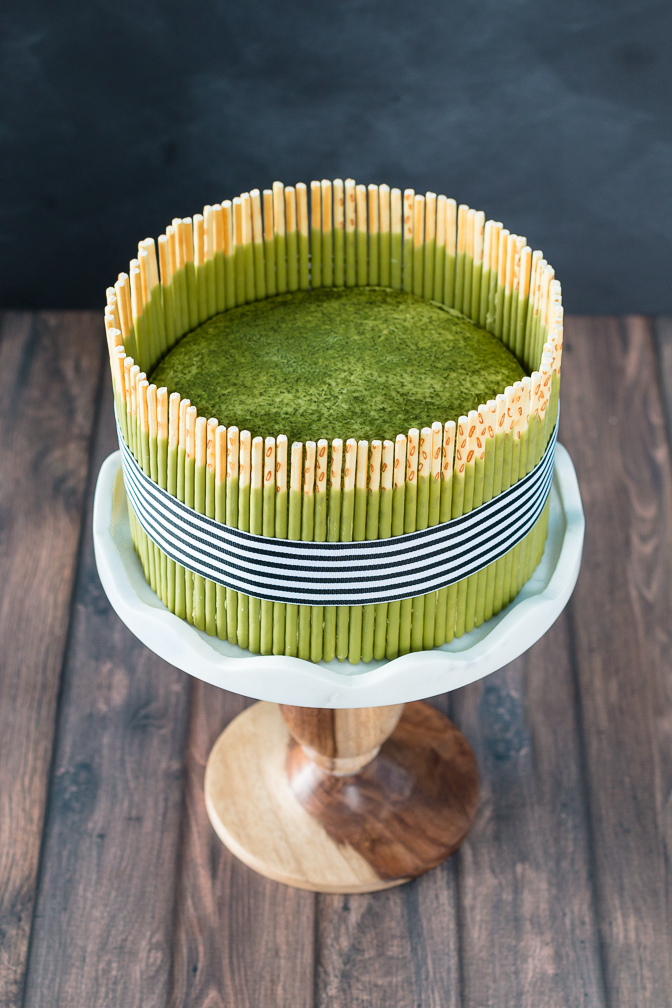 chocolate matcha pocky cake with matcha mousse the road. Black Bedroom Furniture Sets. Home Design Ideas