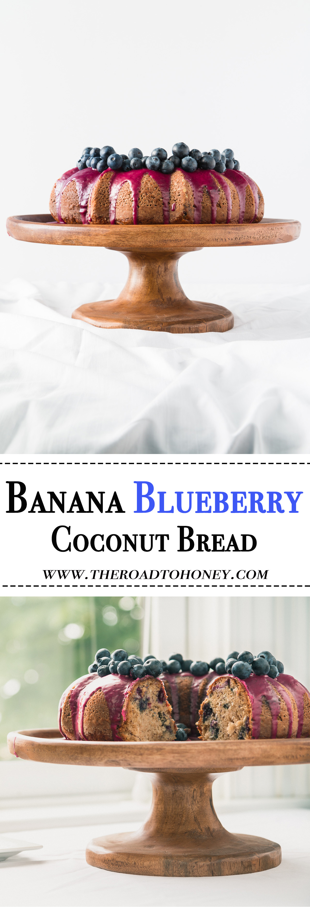 Coconut Banana Blueberry Bread - This super moist coconut banana blueberry bread topped with a sweet blueberry puree & fresh blueberries is the best banana bread you will ever have. Click for RECIPE.