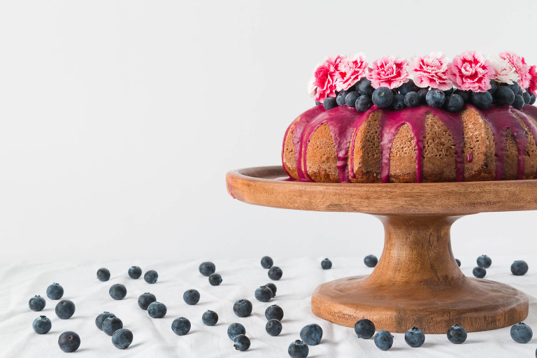 Banana Sweetened Blueberry Cake