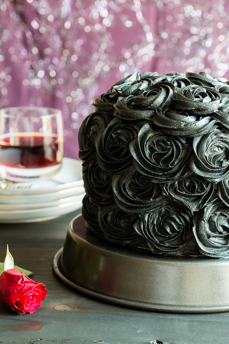 Black Cocoa and Raspberry Cream Layer Cake