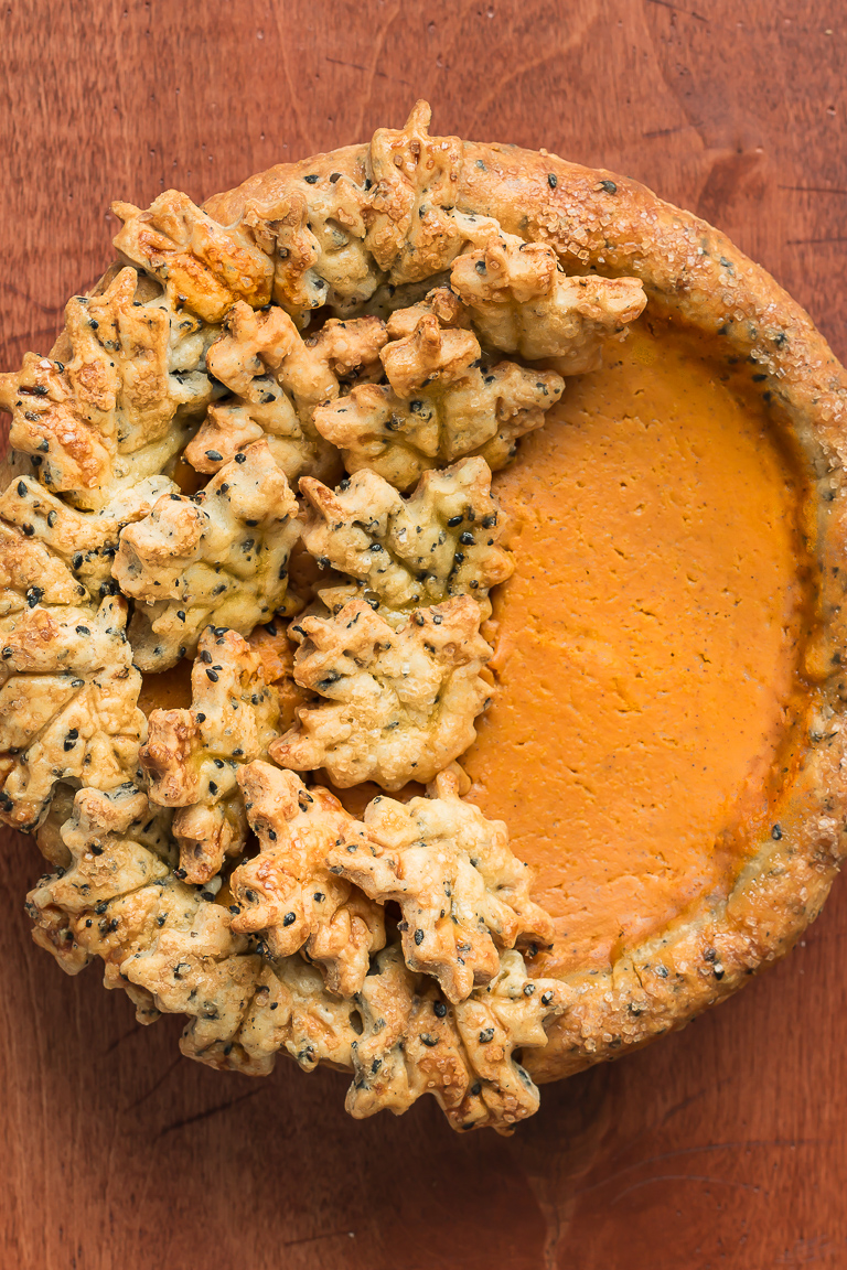 Bourbon Pumpkin Pie with Black Sesame Seed Crust