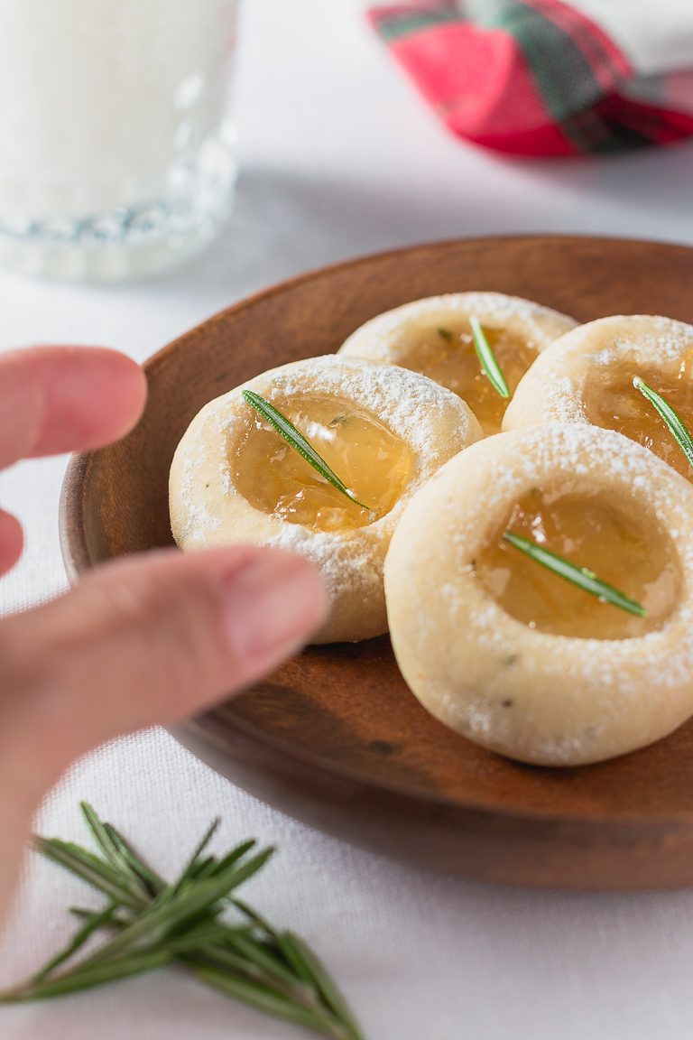 Christmas Cookies: Rosemary Pear Thumbprint Cookie - THE ROAD TO HONEY