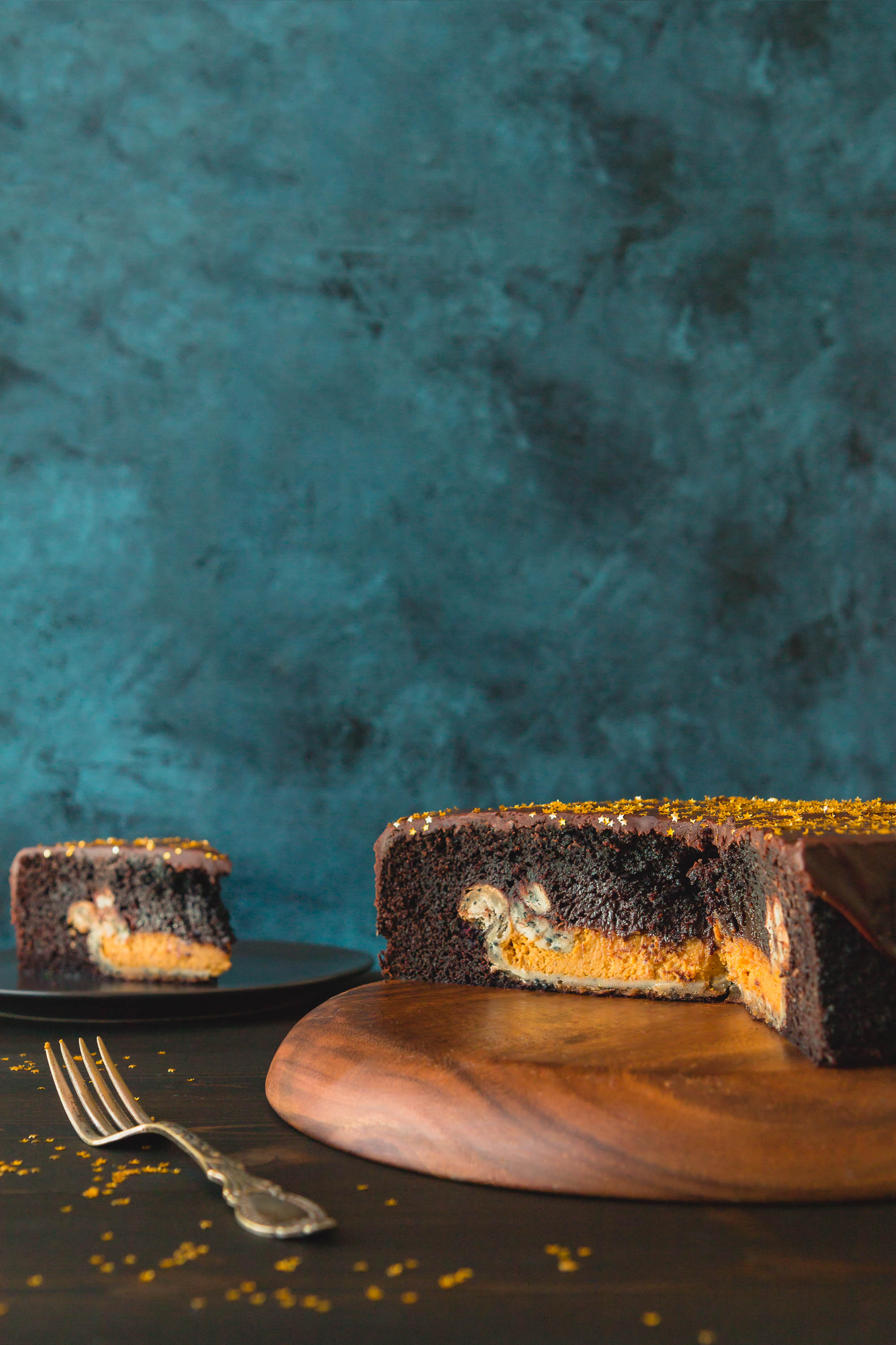 Chocolate Cake with a Pumpkin Pie Inside | THE ROAD TO HONEY