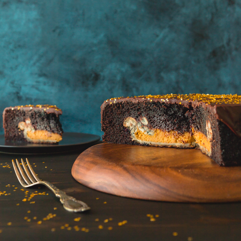 Chocolate Cake with Pumpkin Pie Inside