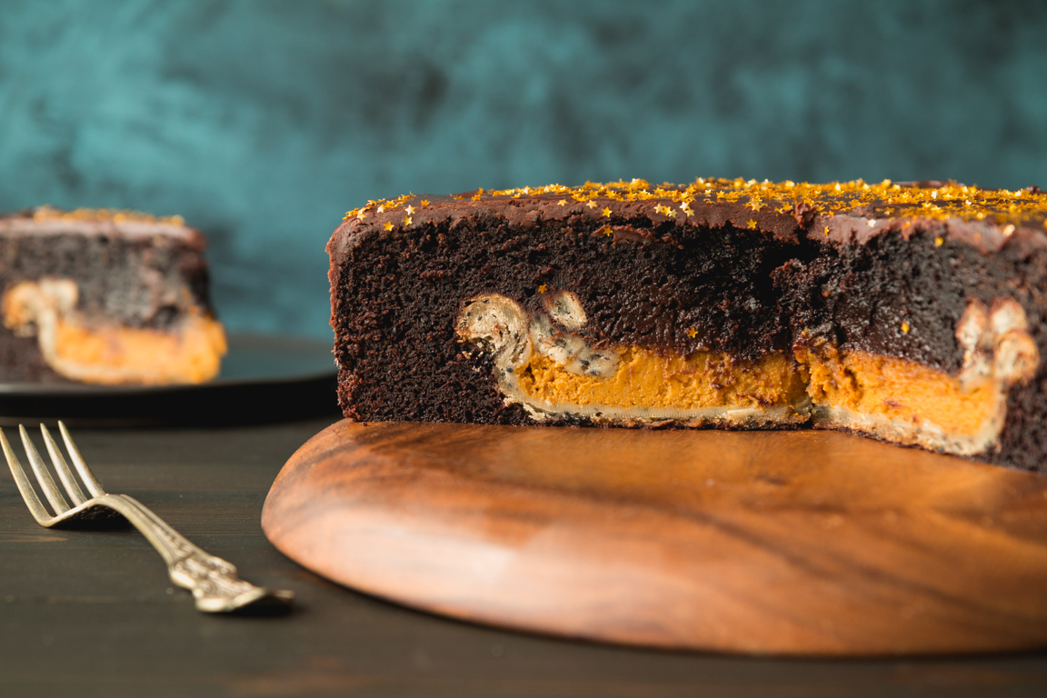 Chocolate Cake with Pumpkin Pie Surprise