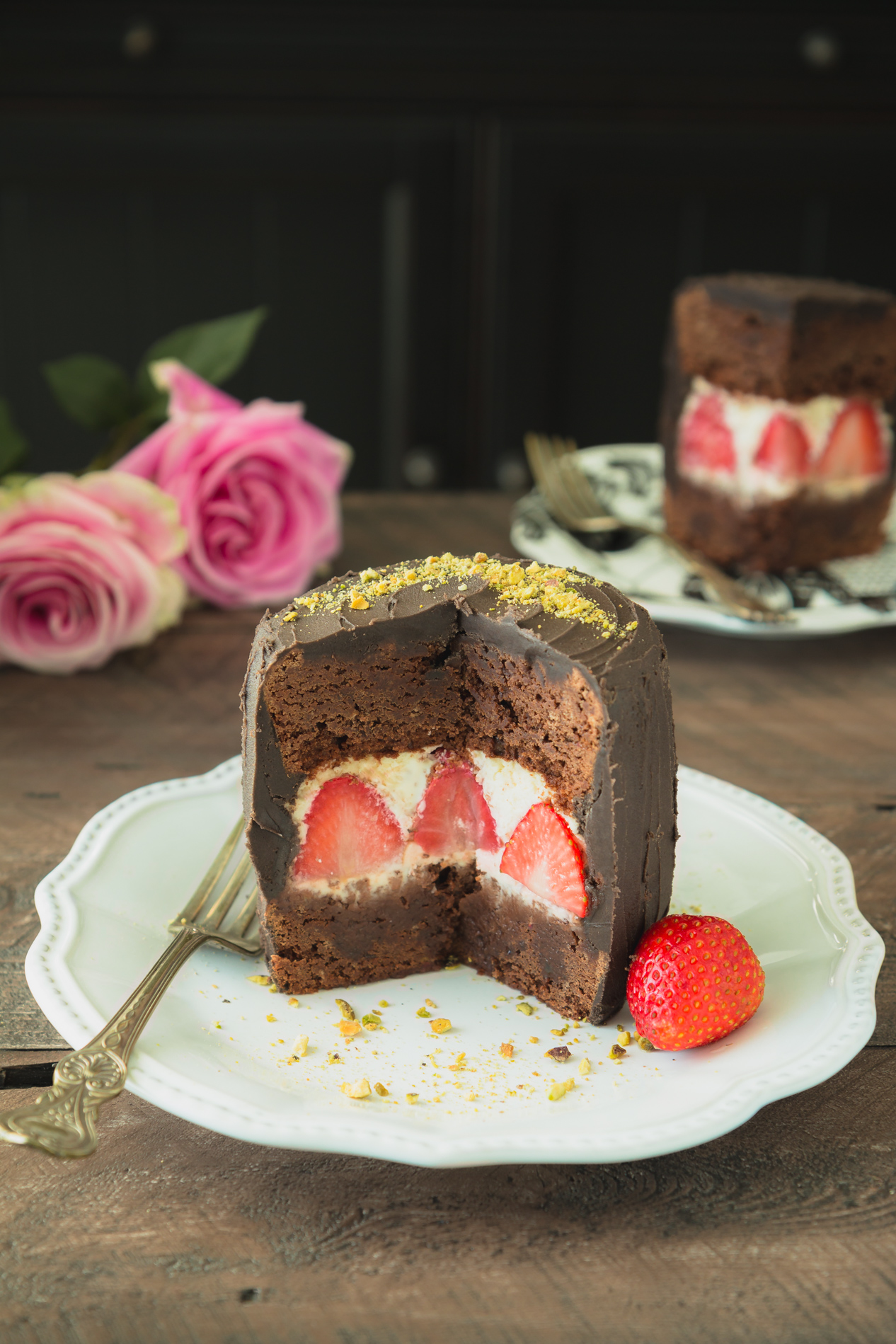 Strawberries and Cream Brownie Cake