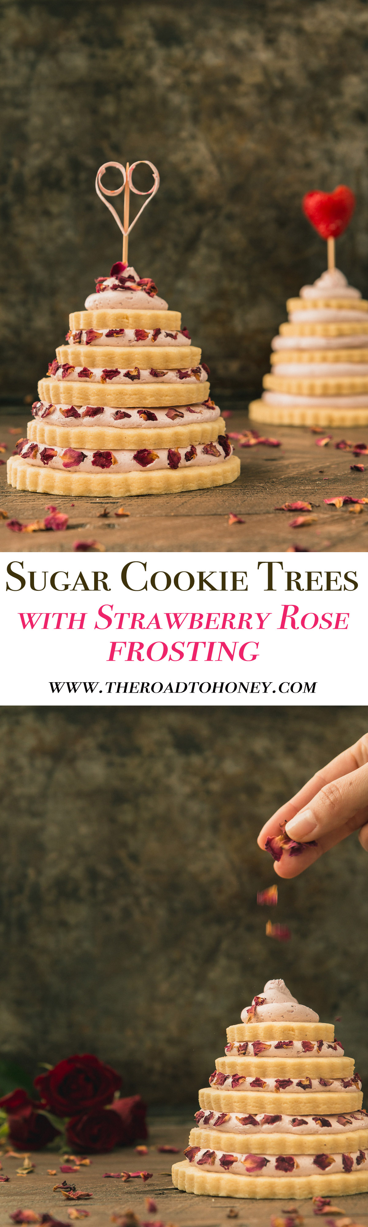 Sugar Cookie Trees with Strawberry Rose Frosting - These sugar cookie trees are made of tiers of sweet almond sugar cookies & topped with a dreamy strawberry & rose buttercream frosting. Perfect for Valentines Day or any other special occasion.