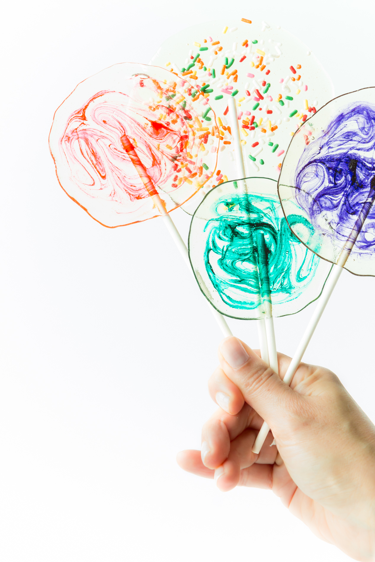 Clear Homemade Lollipops with Swirl