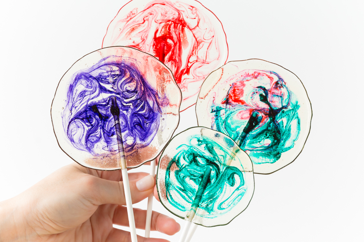 Clear Homemade Lollipops with Swirls