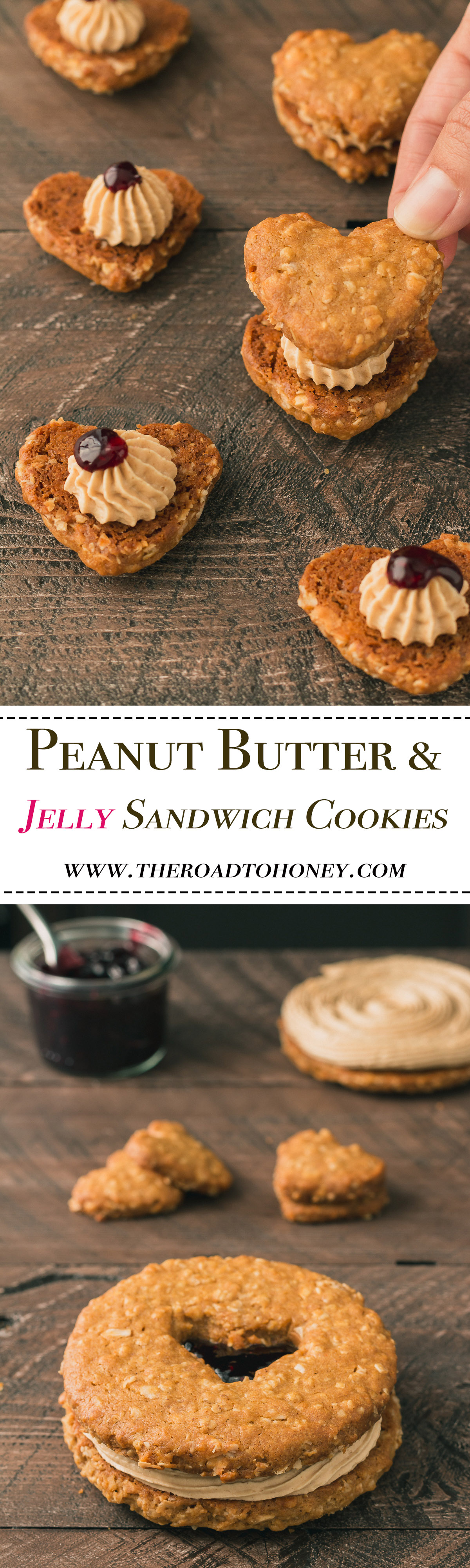 Peanut Butter & Jelly Sandwich Cookies - a rich & addicting peanut butter flavored Italian buttercream is sandwiched between two irresistible peanut butter cookies & topped with a dollop of strawberry jam. Perfect for Valentines day, school lunches or any time you need a peanut butter fix. Click for RECIPE.