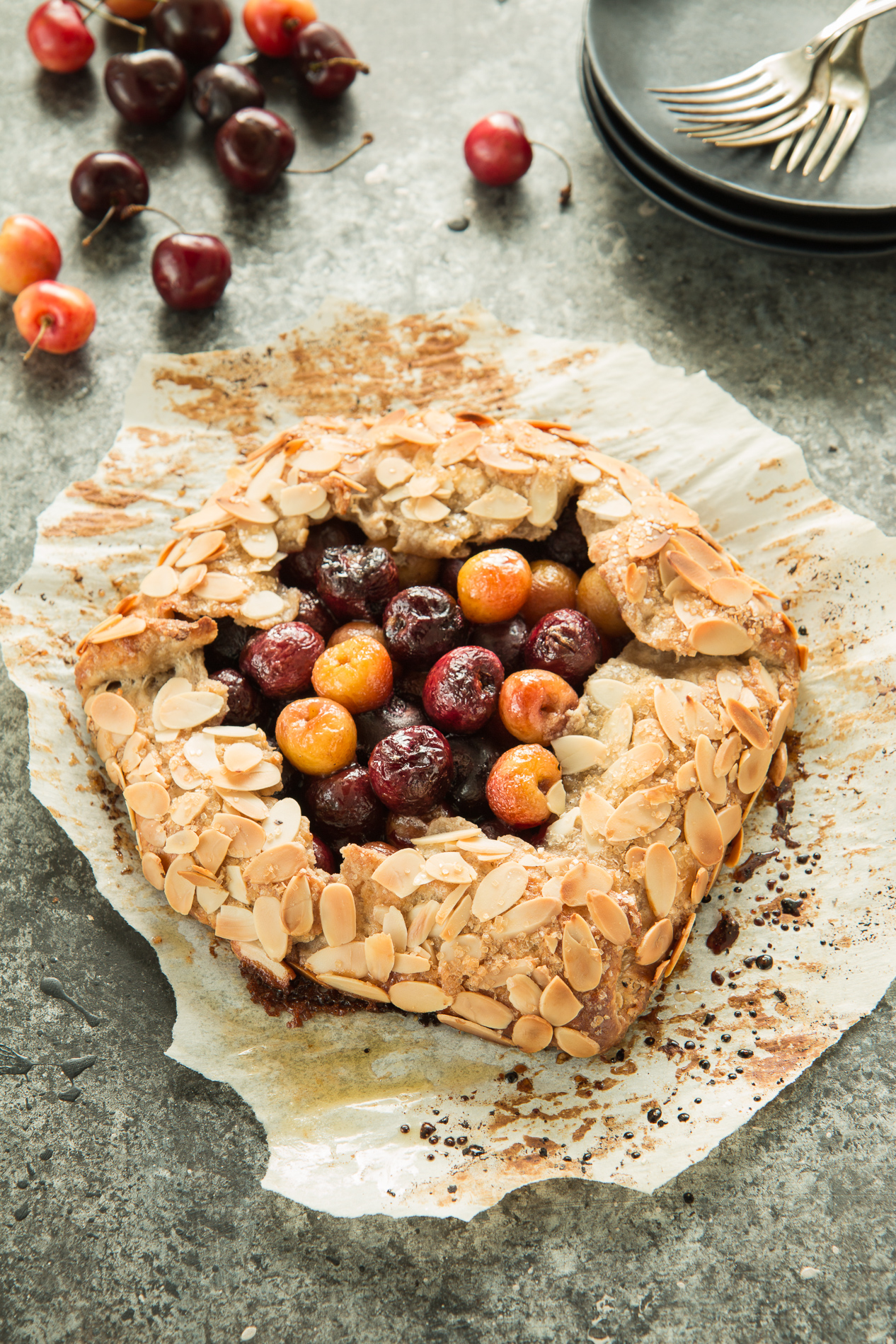 Cherry Galette with Almond Crust