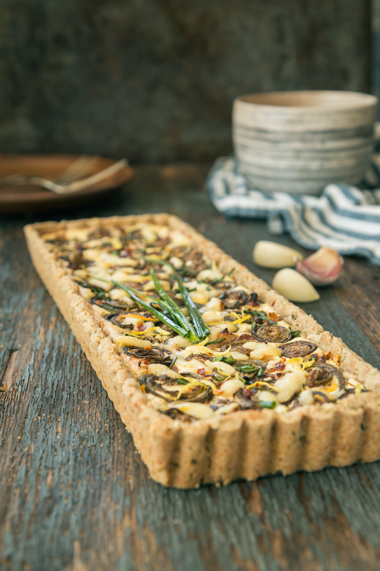 Savory Tart: Fiddlehead & Ricotta with Oat Crust