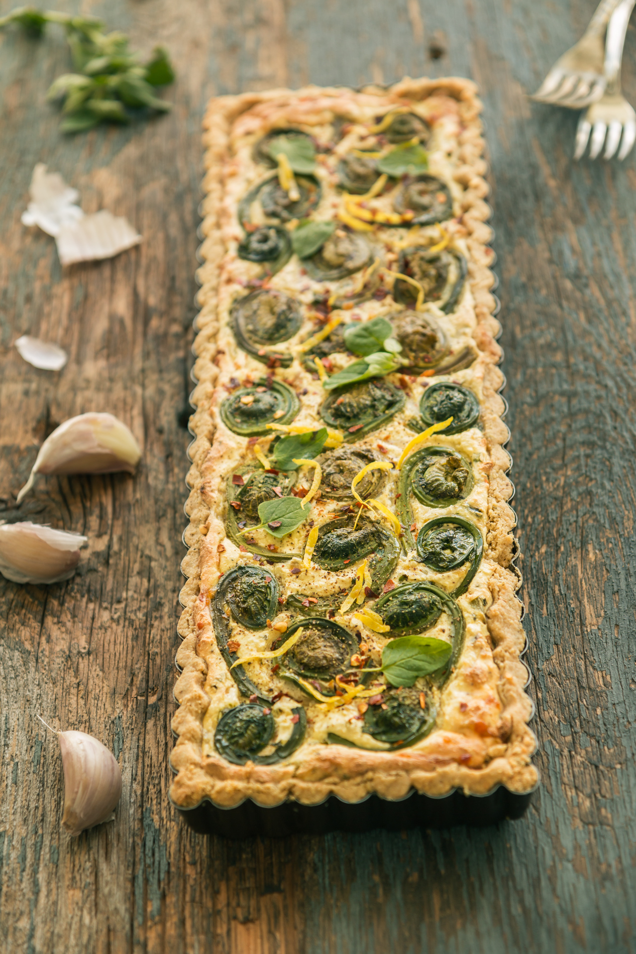 Savory Tart- Fiddlehead & Ricotta with Oat Crust