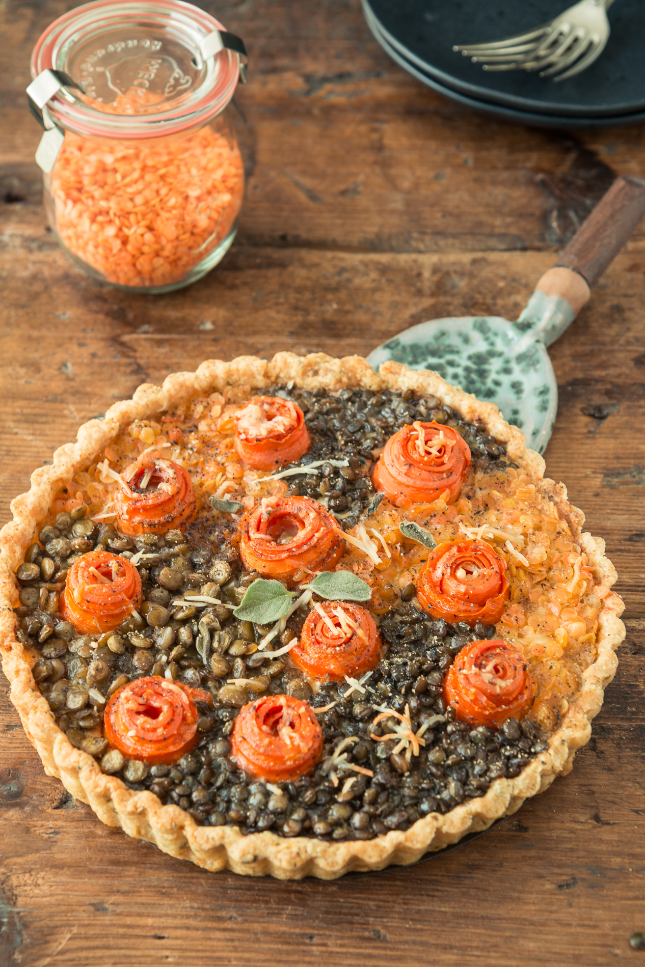Lentil and Carrot Tart with Lentil Crust