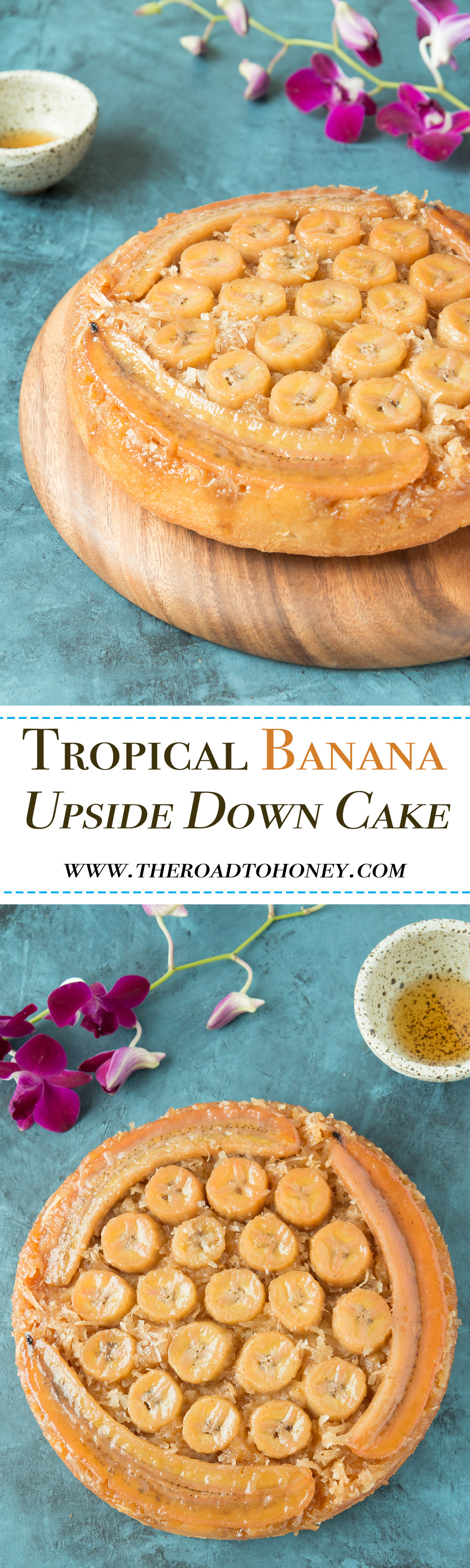 Tropical Banana Upside Down Cake - filled with sweet mandarin oranges & pineapple, then topped with bananas nestled into a luscious caramel & coconut topping. For the ultimate in adult boozy treats, drizzle a little bit of rum on top of the cake. You'll have that tropical state of mind in no time. Click for RECIPE.
