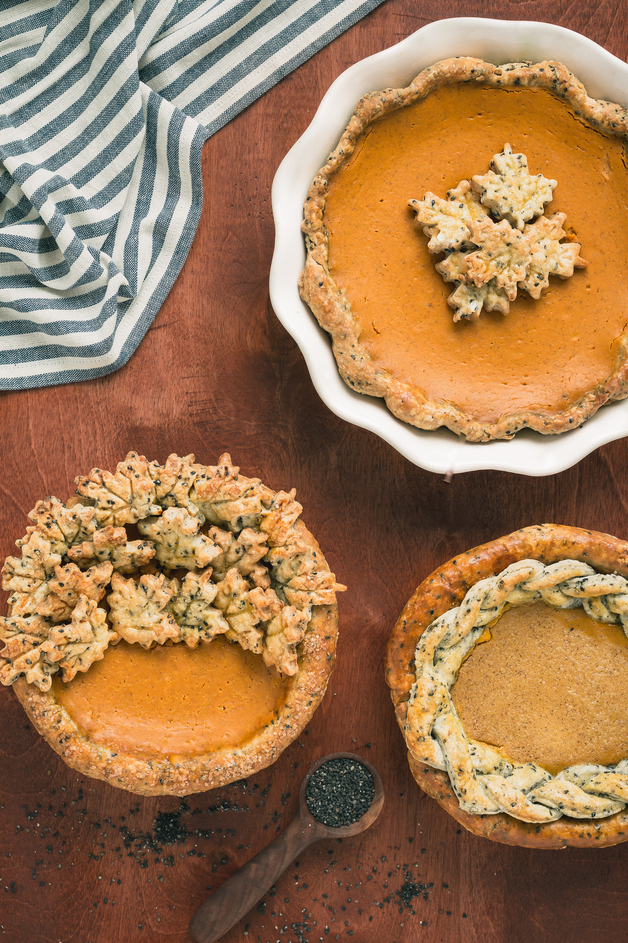The Road to Honey's Most Popular Recipes of 2016 - Bourbon Pumpkin Pie with Black Sesame Crust