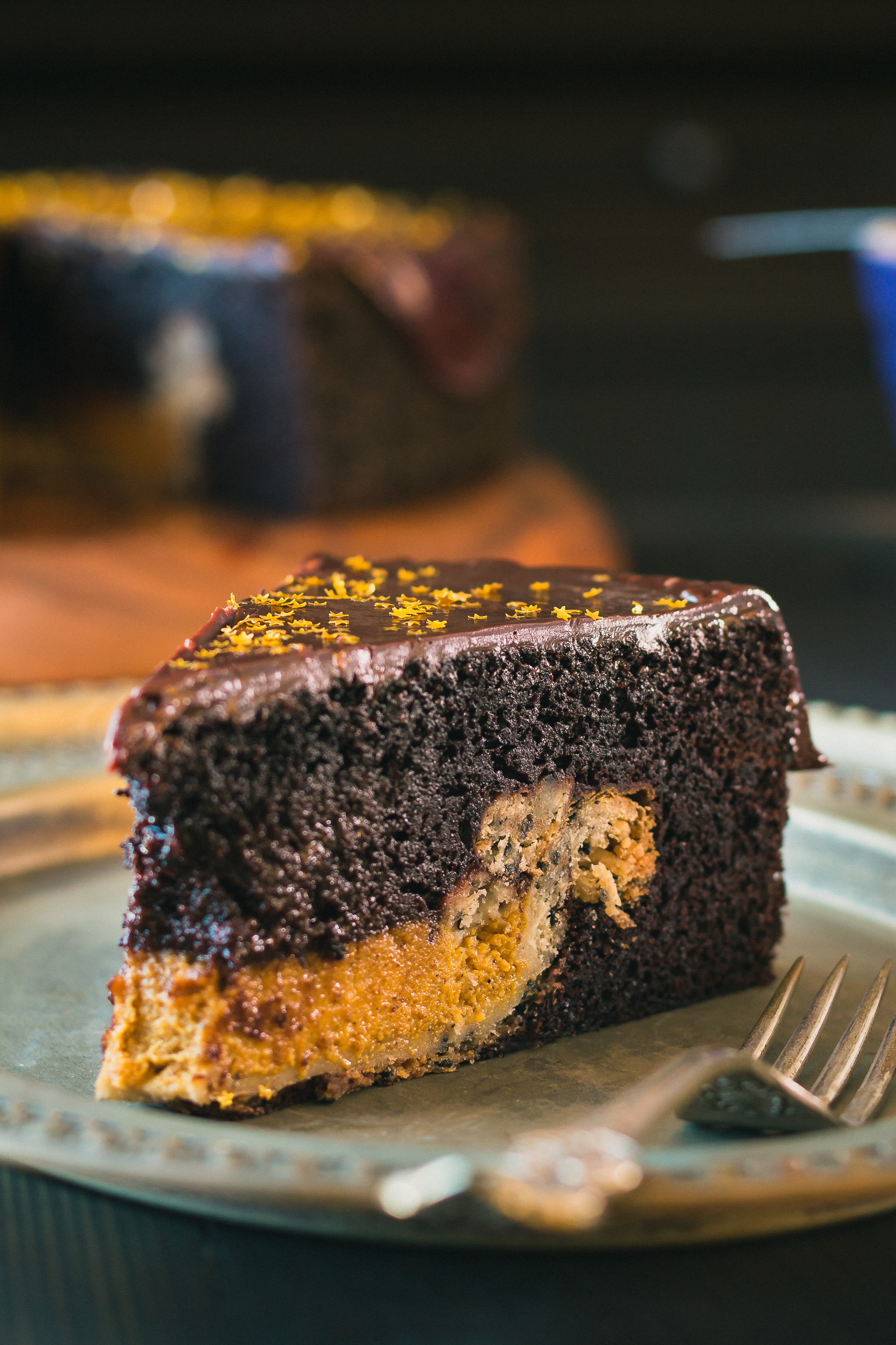 The Road to Honey's Most Popular Recipes of 2016 - Chocolate Cake with Pumpkin Pie Surprise