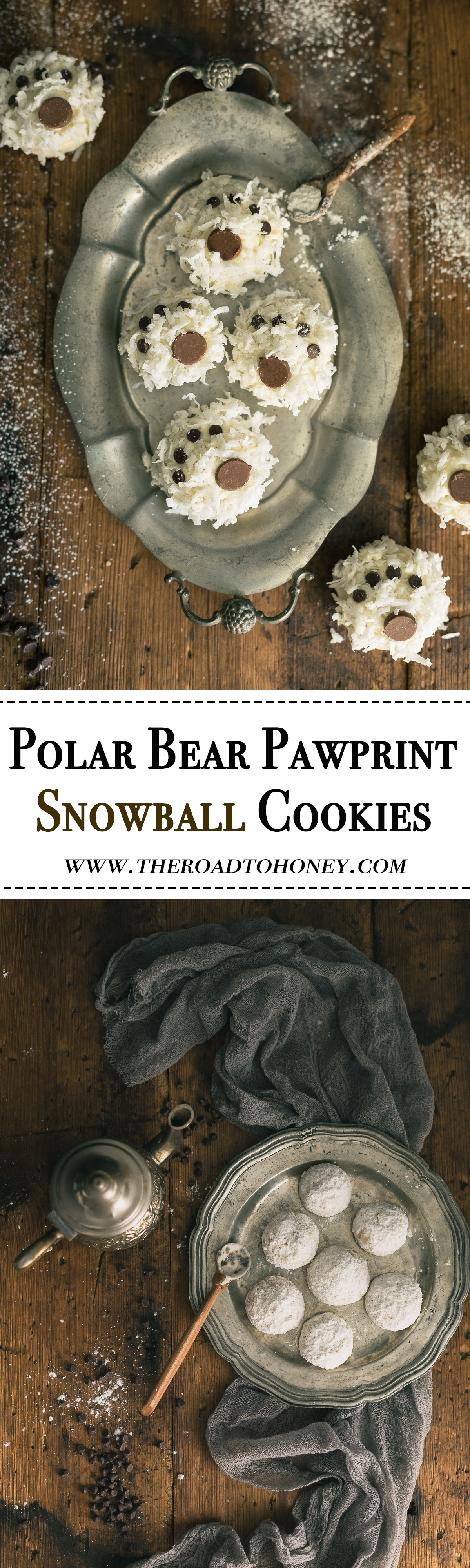 Polar Bear Paw Snowball Cookies - these light melt-in-your mouth nutty, buttery cookies are dipped in a decadent white chocolate & coated with a sprinkling of coconut & chocolate chips for a fun, playful look. They're not only perfect for the holidays but equally fun for snow days Christmas in July & birthday parties.