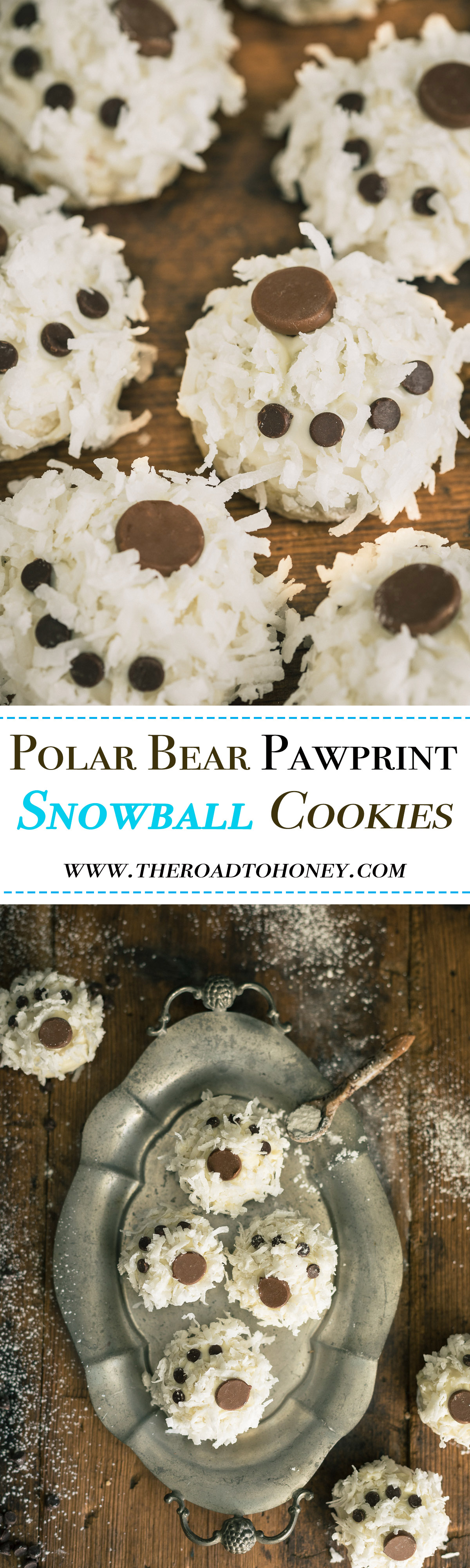 Polar Bear Paw Snowball Cookies - these light melt-in-your mouth nutty, buttery cookies are dipped in a decadent white chocolate & coated with a sprinkling of coconut & chocolate chips for a fun, playful look. They're not only perfect for the holidays but equally fun for snow days and birthday parties. Click for RECIPE.
