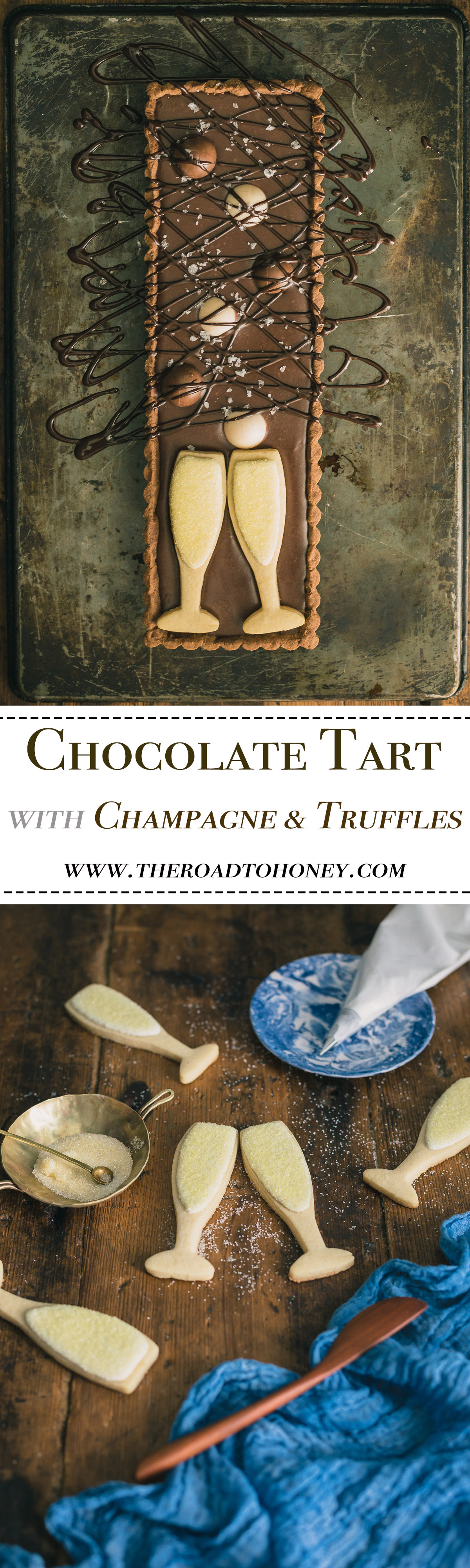 Chocolate Tart with Champagne & Truffles - A buttery chocolate crust is filled with a silky chocolate ganache with hints of champagne & cognac. It's then topped with luxurious chocolate truffles & champagne glass sugar cookies. It's the ultimate of romantic desserts & is perfect for Valentines Day, anniversaries, New Years, or any other day you want to up the romance & treat your senses to an indulgent chocolate dessert. Click for RECIPE.
