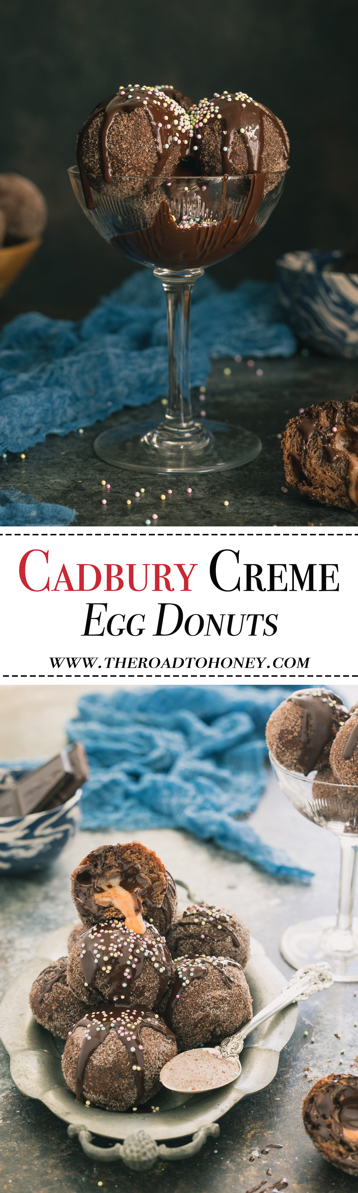 Cadbury Creme Egg Donuts - A decadent chocolate brioche is converted into wickedly soft brioche donuts and filled with a rich & creamy Cadbury Creme Egg. Perfect for Easter celebration or using up that Easter candy after the holiday is long gone. Click for RECIPE.