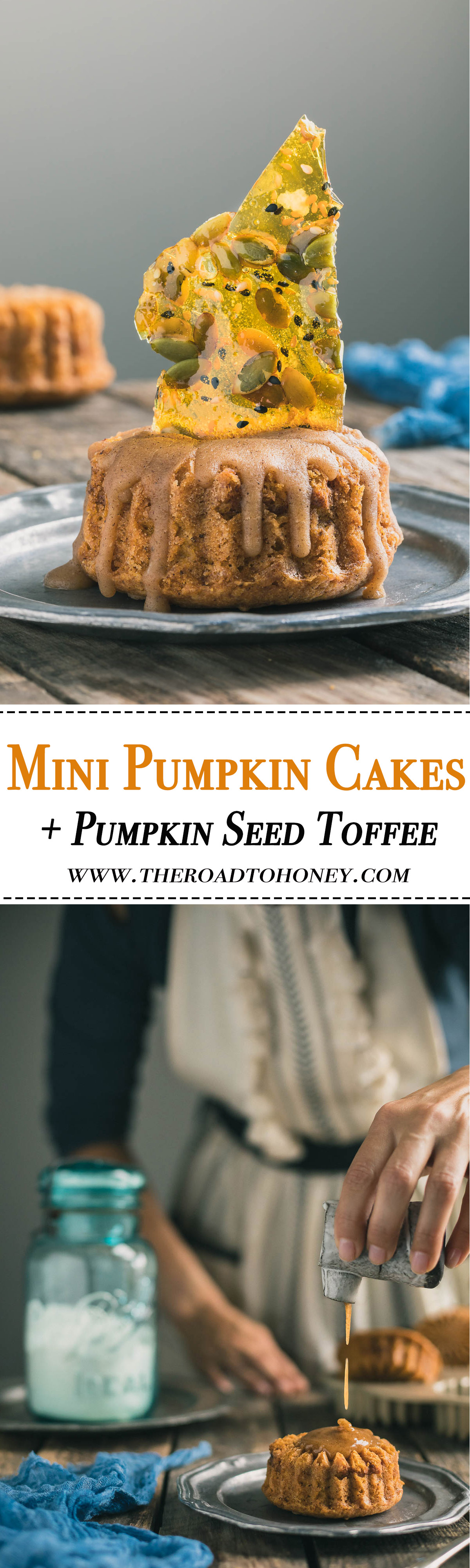 Mini Pumpkin Cakes with Brown Butter Maple Glaze - Moist and fluffy mini pumpkin cakes are filled with fall spices, then topped with a heavenly brown sugar and maple glaze.  They are then topped with sweet and crunchy pieces of Pumpkin and Sesame Seed Toffee for an elegant look.  A must for any Halloween or Thanksgiving gathering.